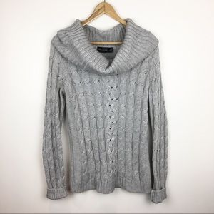 The Limited Angora Wool Blend Sweater Chunky Cable